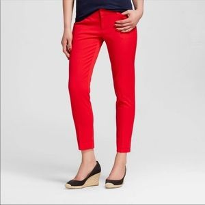 Merona bright red classic cropped pants 6